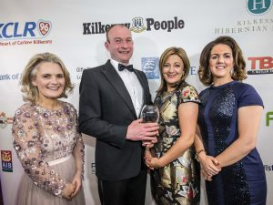 Patrick and Olive Mullins, M. Mullins Family Butcher receive their Family Business of the Year award from Roisin Shortall, PwC and Deirdre Shine, Kilkenny Chamber at the Kilkenny Chamber Business Awards. Photo: Pat Moore.