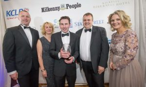 Kate Foley, James O'Shea and Tommy O'SHea, O'Shea Farms receive the Food & Drink Producer of the Year award from Denis Drennan, Kilkenny LEADER and Deirdre Shine, Kilkenny Chamber at the Kilkenny Chamber Business Awards. Photo: Pat Moore.