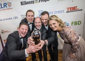 Brian Bourke, Jonathan Brown, Dermot Grogan and Clive Moriarty, Grogan & Brown Artisan Butchers receive their Retailer of the Year award from Deirdre Shine, Kilkenny Chamber at the Kilkenny Chamber Business Awards. Photo: Pat Moore.
