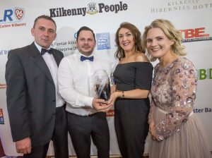 Leo Lopes and Caroline Buggy , Kieran O'Gorman Hair & Day Spa receive their Service Provider of the Year award from John McNena, Hibernian Hotel and Deirdre Shine, Kilkenny Chamber at the Kilkenny Chamber Business Awards. Photo: Pat Moore.