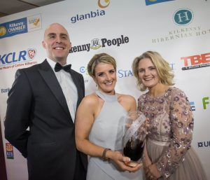 Margaret Clancy, Employee of the Year with Aaron Keogh, VHI and Deirdre Shine, Kilkenny Chamber at the Kilkenny Chamber Business Awards. Photo: Pat Moore.
