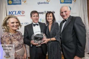 Ned and Anne Nolan, Hermitage Genetics winners of the Overall Award receive their award from Henry Corbally, Chairman of Glanbia and Deirdre Shine, Kilkenny Chamber at the Kilkenny Chamber Business Awards. Photo: Pat Moore.