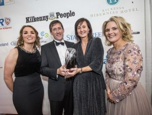 Ned and Anne Nolan, Hermitage Genetics receive their Exporter of the Year award from Helen Leahy, Bank of Ireland and Deirdre Shine, Kilkenny Chamber at the Kilkenny Chamber Business Awards. Photo: Pat Moore.
