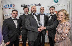 James Savage, Laurence Conroy Johnny Dunphy and Aidan McGrath, CiphersTechs EU Ltd receive their Information & Communications Technology award from Stephen Hickey, Taxback and Deirdre Shine, Kilkenny Chamber at the Kilkenny Chamber Business Awards. Photo: Pat Moore.