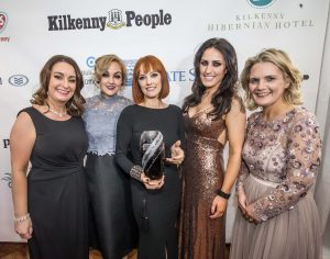 Lorraine Glover, Denise O'Neill and Danielle Fitzgerald, Rustiq Salon receive their Investment in Skills, Training & Development of Staff award from Marion Acreman and Deirdre Shine, Kilkenny Chamber at the Kilkenny Chamber Business Awards. Photo: Pat Moore.