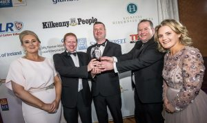 Robert Phelan, David and Declan Kearney, RD Plumbing & Heating receive their Small Business of the Year award from Fiona Deegan, Enterprise Office and Deirdre Shine, Kilkenny Chamber at the Kilkenny Chamber Business Awards. Photo: Pat Moore.