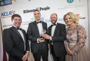 Liam Ryan and Richie Harvey, Core Claims Services winner of the Emerging New Business with Stephen Trant and Deirdre Shine at the Kilkenny Chamber Business Awards. Photo: Pat Moore.